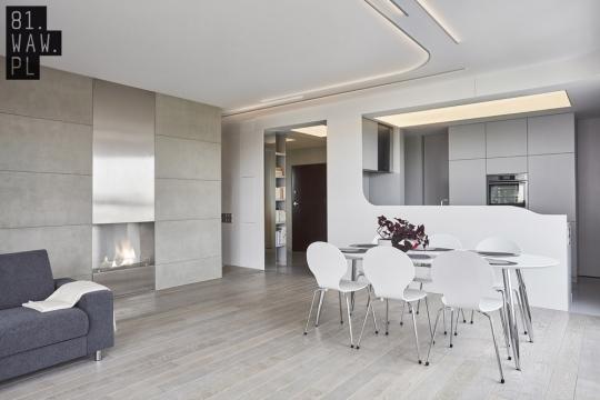 Kuchnia Betonowe Wnętrze Zatopione W Bieli